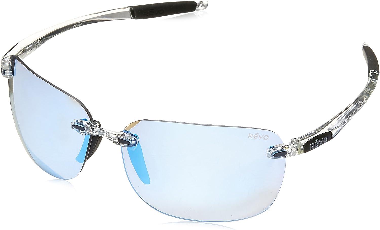 Revo Sunglasses Descend XL: Polarized Lens Filters UV, Large Rimless Rectangle Frame