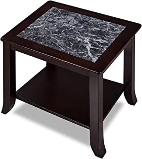 SLEEPLACE Loyal Natural Marble Top Coffee End Sofa Office Table, Basic Home Decor with Storage Shelf, Black/Black