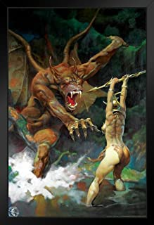 Beauty and The Beast by Frank Frazetta Black Wood Framed Art Poster 14x20