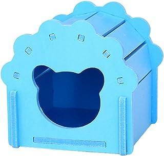 Outfun木製アーチ型 ペットハウス 小動物 ハムスターリス 木製 住宅 屋 ピンクととブルー ロマンチックの可愛い家 (ブルー)