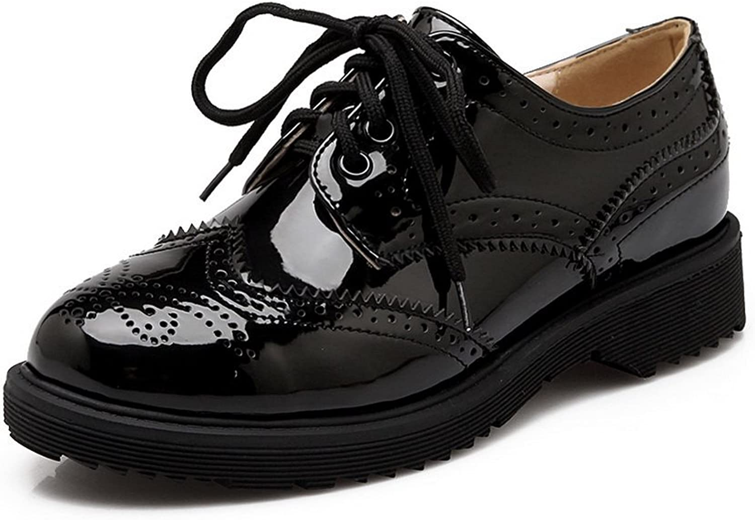 1TO9 Womens Hollow Out Lace-Up Low-Heels Black Patent Leather Pumps-shoes - 5 B(M) US
