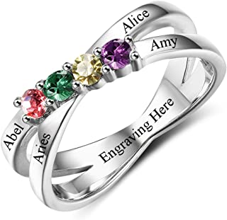 Diamondido Custom Mothers Rings with 4 Simulated Birthstones Personalized Names Grandmother Promise Rings for Women