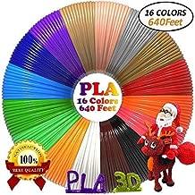 dikale 3D Pen Filament Refills PLA(16 Colors, 40 Feet Each) Bonus 250 Stencils eBooks 3D Pen Filament 1.75mm Total 640 Feet for Tecboss Nulaxy etc(Does Not Fit 3Doodler)