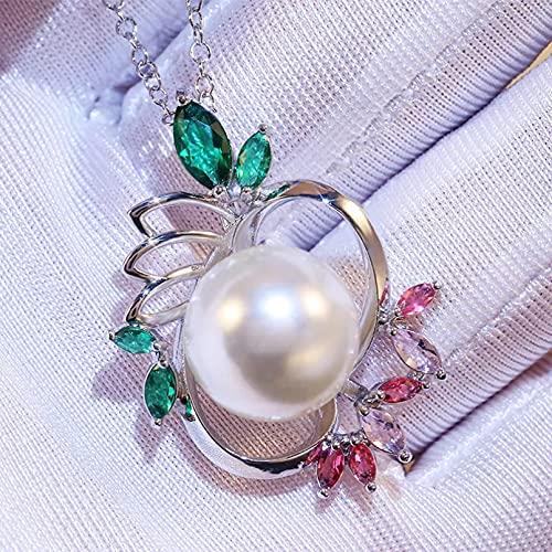 RTEAQ Moda Collar Joyas Gargantilla Collar con Colgantes de Perlas de imitación Redondas Grandes, Collar con Forma de Loto de Piedra Colorida para Mujer Hermosa para artículo de Fiesta de Compromiso