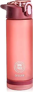 DILLER Water Bottle with Straw - 25 Oz US Tritan BPA Free Sport Water Bottle with Flip-Flop Lid (pink)