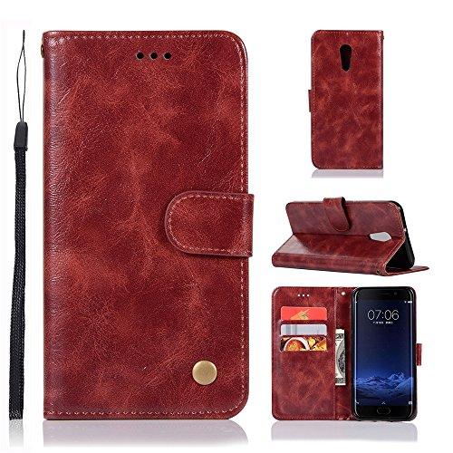 kelman Hülle für Vivo Xplay 6 Hülle Schutzhülle PU Leder + Soft Silikon TPU Innere Schale Brieftasche Flip Handyhülle - [JX01/Weinrot]