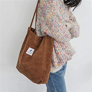 high quality Women Tote Female Casual Shoulder Bag Ladies Canvas Handbag High Capacity Foldable Reusable,Brown (Color : Br...