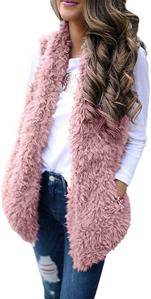 Womens Open Front Faux Fur Coat Pure Color Pocket Plush Waistcoat Casual Sleeveless Warm Vest Casual Top Jacket