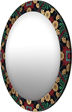 999Store Printed Golden Flowers and Green Leaves Round Mirror (MDF_17X17 Inch_Multi)