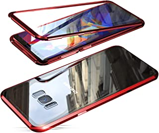 Compatible with Samsung Galaxy S8 (5.8 inch) Case, Jonwelsy 360 Degree Front and Back Transparent Tempered Glass Cover, Strong Magnetic Adsorption Technology Metal Bumper (Red)