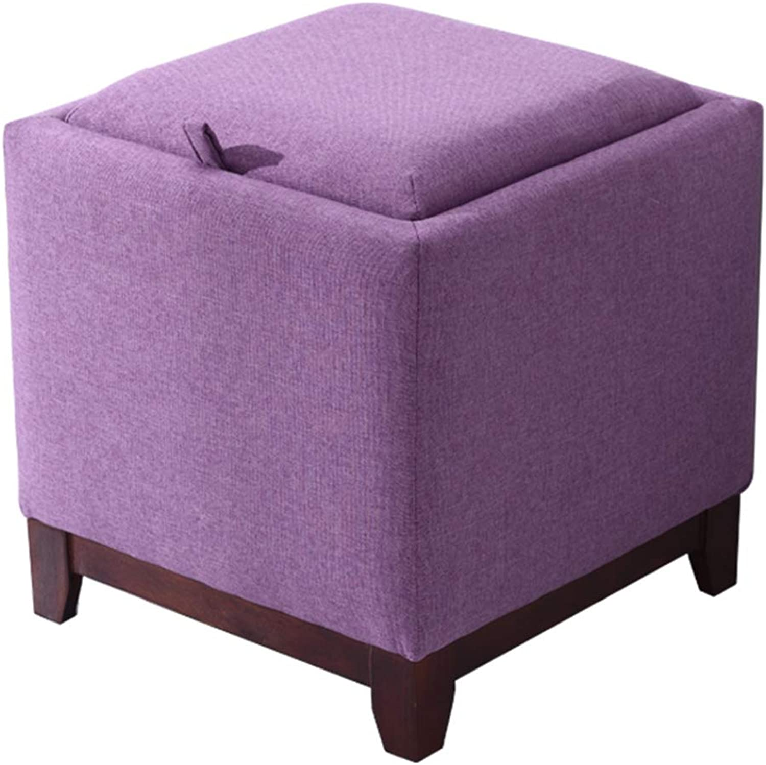 Stool Multi-Function Solid Wood Storage Stool Living Room Home Coffee Table Stool Fabric Change shoes Stool Storage Stool WEIYV (color   Purple, Size   40  40  42cm)