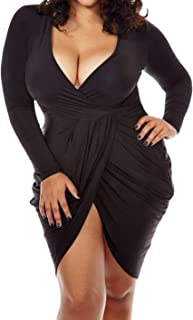 a48e931068 POSESHE Womens Plus Size Deep V Neck Bodycon Wrap Dress with Front Slit