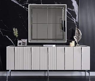 Casa Padrino aparador Art Decó Blanco/Negro/Plata 208 x 44 x A. 84 cm - Armario Noble con 5 Puertas - Muebles Art Deco