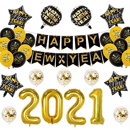 バルーン 風船セット 2021年 新年 星風船 飾り付け 装飾 Happy New Year 年越し パーティー サプライズ お祝い イベント(32点)
