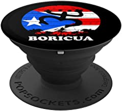 Puerto Rico Flag Palm Trees Taino Coqui Symbol Boricua Shirt PopSockets Grip and Stand for Phones and Tablets
