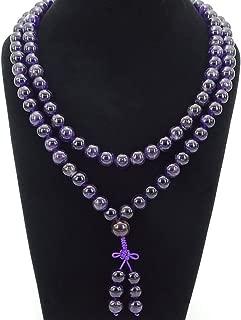 jennysun2010 Natural 10mm Amethyst Gemstone Buddhist 108 Beads Prayer Mala Long Necklace Multi-Purpose about 43
