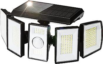 أضواء شمسية في الهواء الطلق 5 رؤوس استشعار الحركة تعمل بالطاقة الشمسية 300 LED أضواء كاشفة LED للأمان IP65 مقاومة للماء بز...