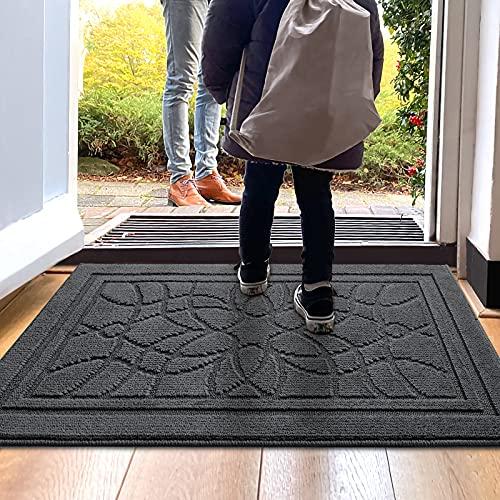 DEXI Schmutzfangmatte 80 x 120 cm,wasserabsorbierende Fußmatte für Innen und Außen,rutschfest und waschbar Haustürmatte Türmatte Teppiche Eingangsteppich,Dunkelgrau