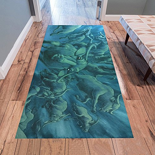 AnnHomeArt Flying buffalo at night Area Rug Runner Rug Modern Carpet 7'x3'3''