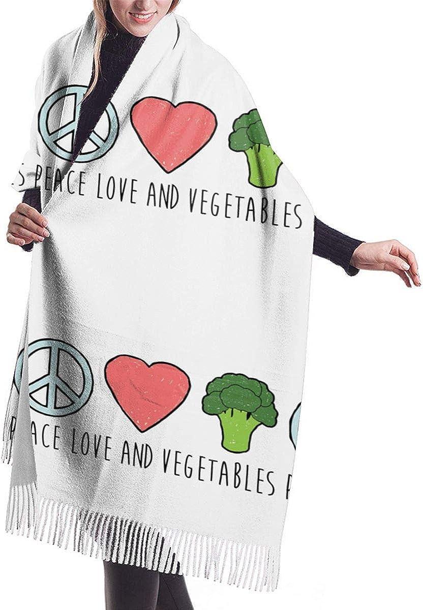 Peace Love Veggies. Winter Scarf Cashmere Scarves Stylish Shawl Wraps Blanket
