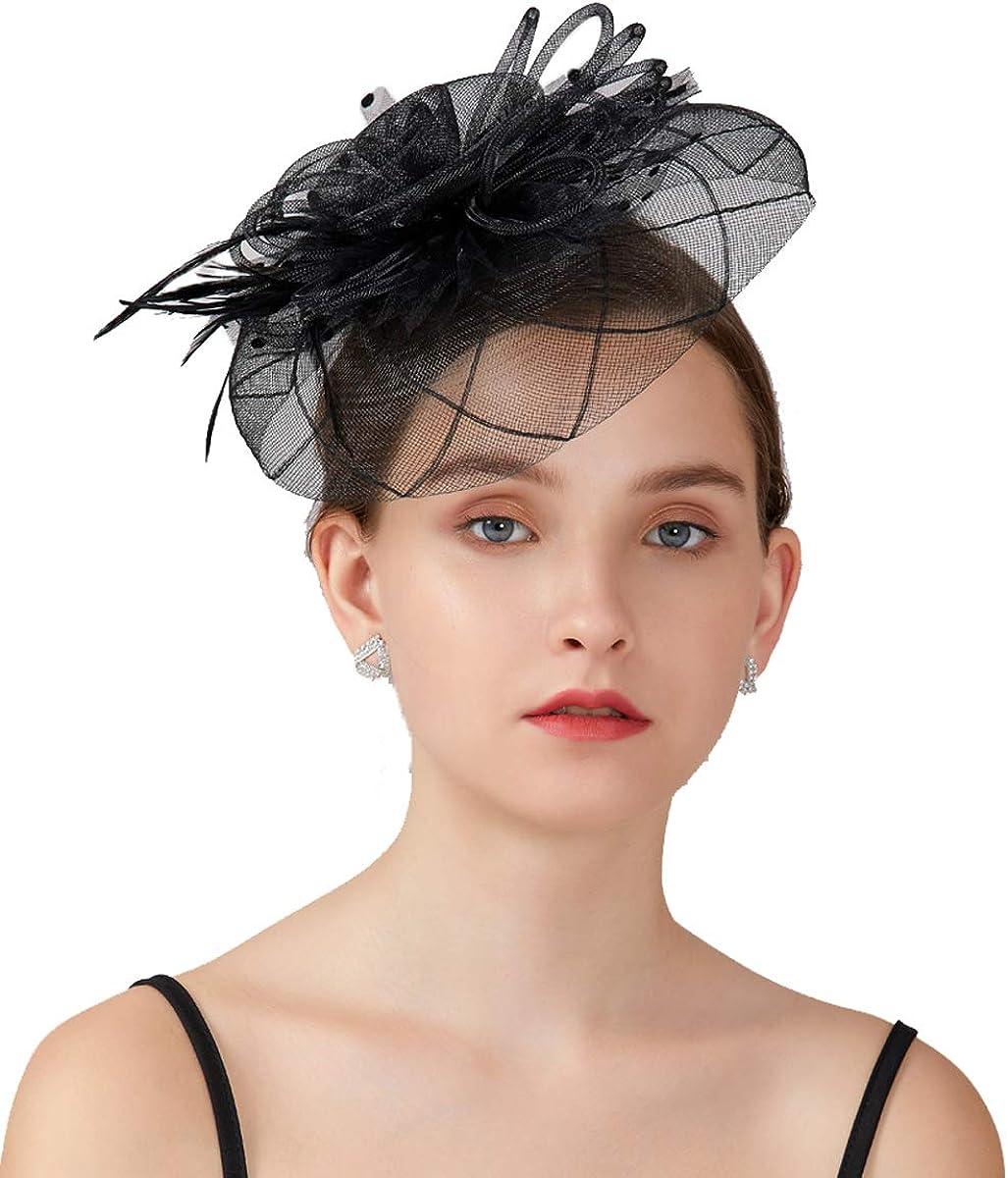 JISEN Women Vintage Fascinators Hat Tea Popular shop is the lowest price challenge Net Derby Feather Seattle Mall Party