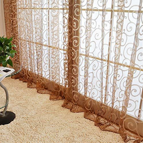 Snaked cat Floral Vines Ganci Tenda a Pannello in Voile con Fiori Design Floreale Tulle Voile Door mantovane Sciarpa Drappo Sheer Finestra Tende con Passanti Tenda a Pannello, Brown, 100 * 200cm