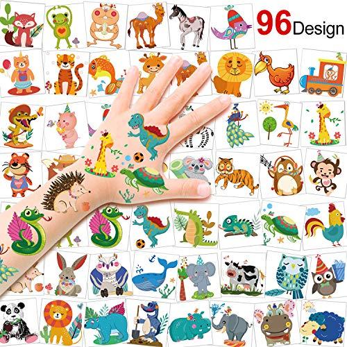 HOWAF Tattoo Kinder, 96 Zoo Tier Tattoo Set, Tier Temporäre Tattoos Safari Party Kindertattoos Aufkleber für Jungen Mädchen Kinder Spielen Mitgebsel Kindergeburtstag Party
