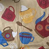 Coffee Themed Vinyl Tablecloth 52' x 90' Flannel Back