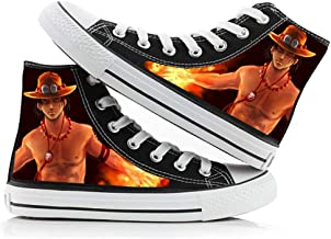 Synona One Piece Chaussures de Toile Unisexe High Top Monkey·D·Luffy Cosplay Canvas Shoes Baskets Montantes Bottines Botte...