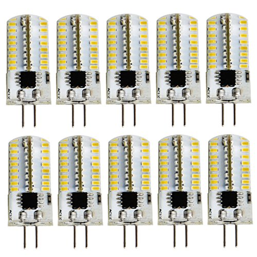 Pack 10,Mini G4 LED Bulb Dimmable 110V 130V 2.6W 280 Lumens 64pcs Silicone Lamp Equivalent to 20W Halogen Bulb Replacement (Warm White2700K-3200K)