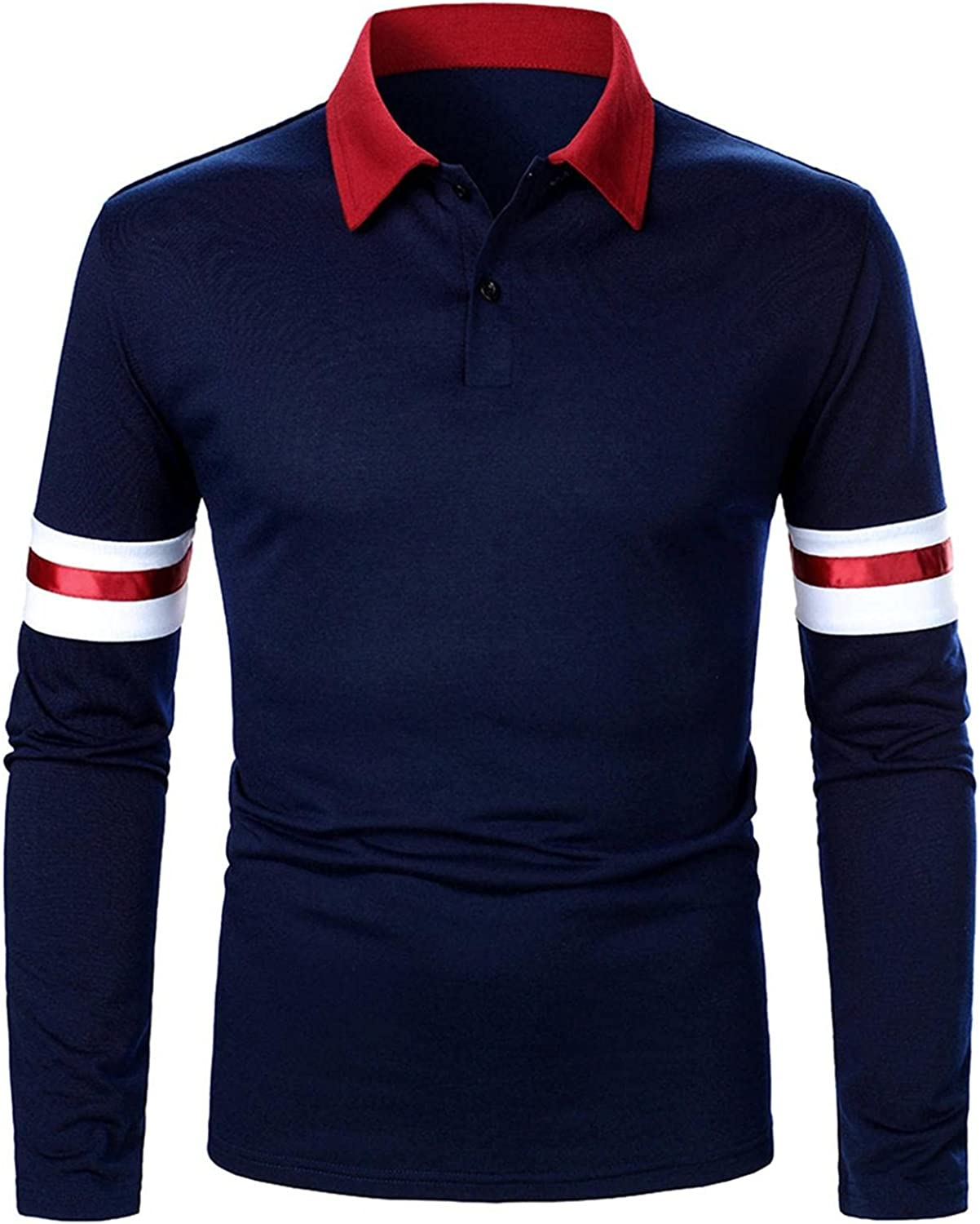 Qsctys Mens Polo Shirts Long Sleeve Casual Slim Stripe Cotton Shirts Lightweight Moisture Wicking Beefy Sweatshirts Pullover