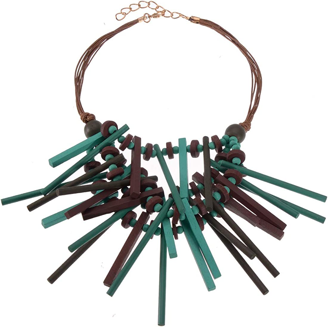 Boho Multilayer Wood Beaded Statement Necklace Chunky Collar Choker Bib Necklace for Women Novelty Jewelry Handmade (Bule Wooden Necklace)