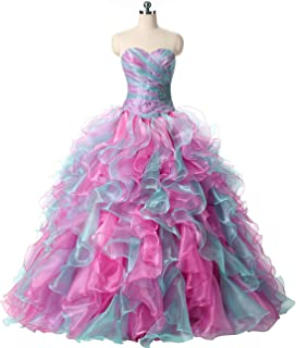 3a64a3af759 ZVOCY Quinceanera Dresses Ruffles Rainbow Ball Gown Long Prom Dress