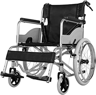 Wheelchair,Manual Wheelchair Portable Aluminum Alloy Wheelchair Folding Lightweight Elderly Disabled Scooter Care Car Swing Away Footrests hgjfgfdgdfvcx SZWHO (Color : T, Size : 3)