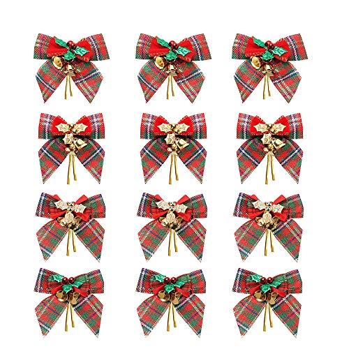 YBB 12 unidades de lazos para árbol de Navidad de color rojo y verde a cuadros, lazo de lino con cascabeles para árbol de Navidad, manualidades, envoltorio, corona de Navidad, adornos colgantes