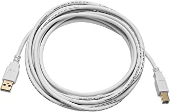 Monoprice 15-Feet USB 2.0 A Male to B Male 28/24AWG Cable (Gold Plated), White (108618)