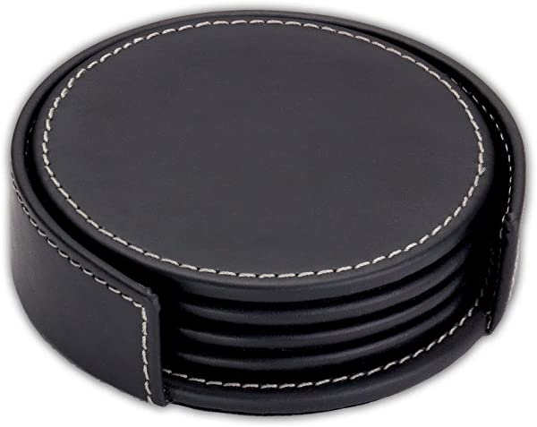 Rustic Genuine Leather Executive Set Of 4 Coasters With Holder