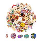 DECORA 200pcs Assorted Design Wooden Buttons for Crafts Scrapbooking or Sewing
