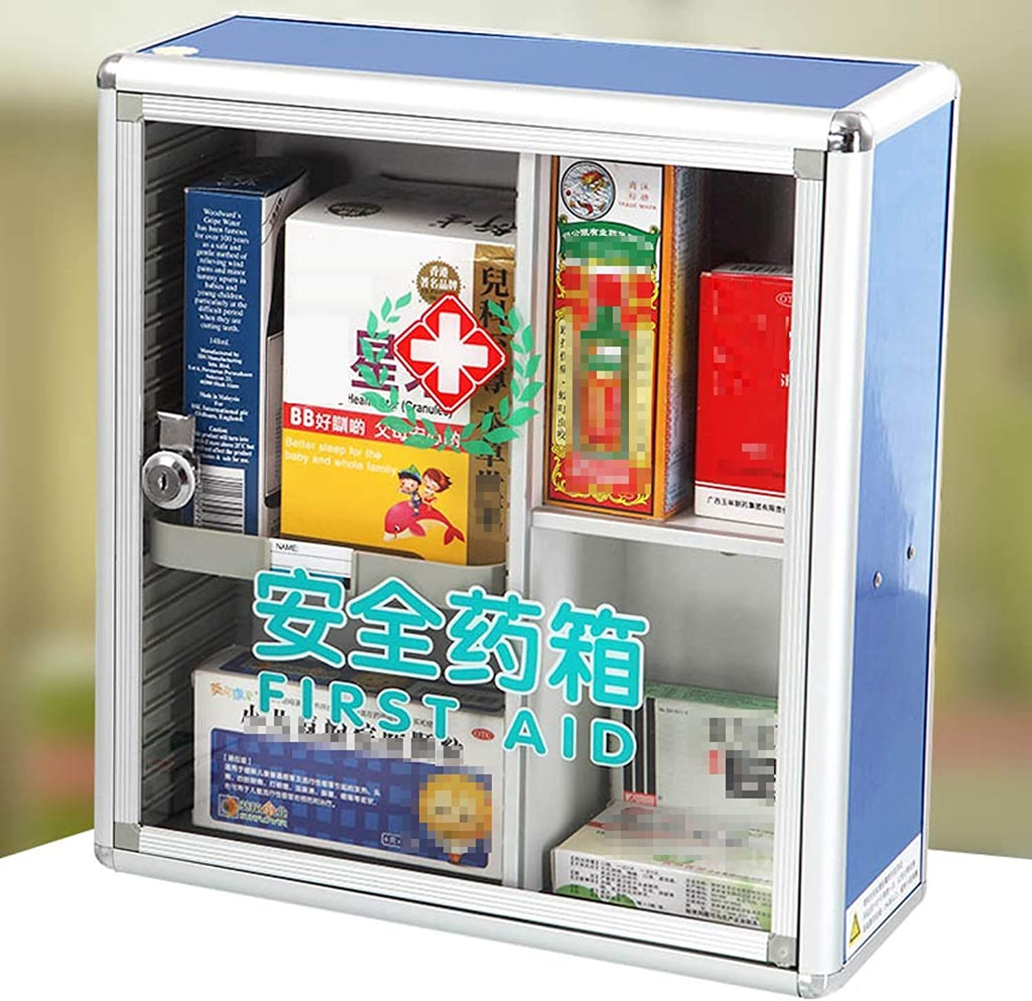 Djyyh Wall Mounted Medical Cabinet First Aid Kit, with 2 Shelves + Security Glass Door Lockable (color   bluee)