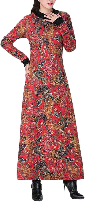 RGCA Womens Muslim Print Crewneck Autumn Winter Long Dress