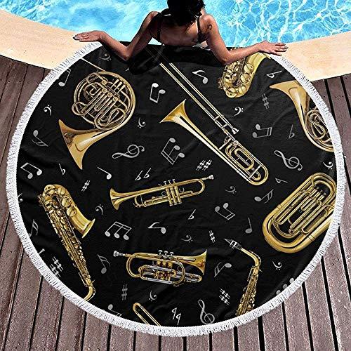 Ronde Strandhanddoek, Trompet Trombone Stranddeken, Dikke Roundie Wandtapijt, Camping Picknick Tapijt Yoga Mat 59