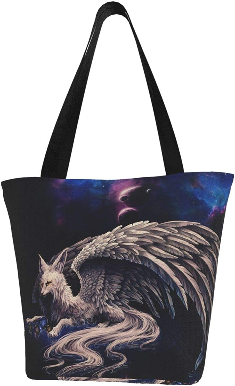 Starry Night Wings Fox Art Animals Themed Printed Women Canvas Handbag Zipper Shoulder Bag Work Booksbag Tote Purse Leisure Hobo Bag For Shopping