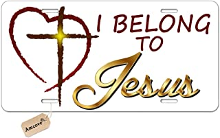 Amcove Jesus Christ Metal License Plate for Cars Religious Christian I Belong to Jesus Novelty License Plate Decorative Front Plate,6 X 12 Inch