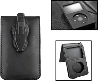 Paddsun Black Leather Case for iPod Classic 80G 120G 160GB with Movable Belt Clip