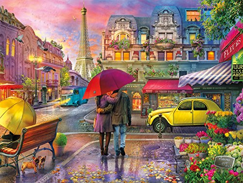 Buffalo Games - Cities in Color - Raining in Paris - 750 Piece Jigsaw Puzzle Red, Green,yellow, 24