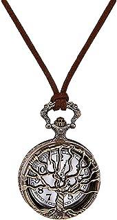 Hemobllo Orologio da Tasca Vintage - Orologio da Taschino Al Quarzo Orologio da Collana con Ciondolo Orologio da Tasca Ton...