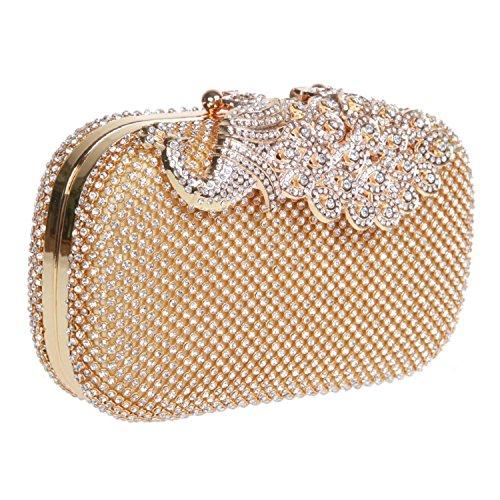 EULovelyPrice Pochette da sera con pochette da sera con strass e pochette in strass di brillanti per le donne (d'oro)