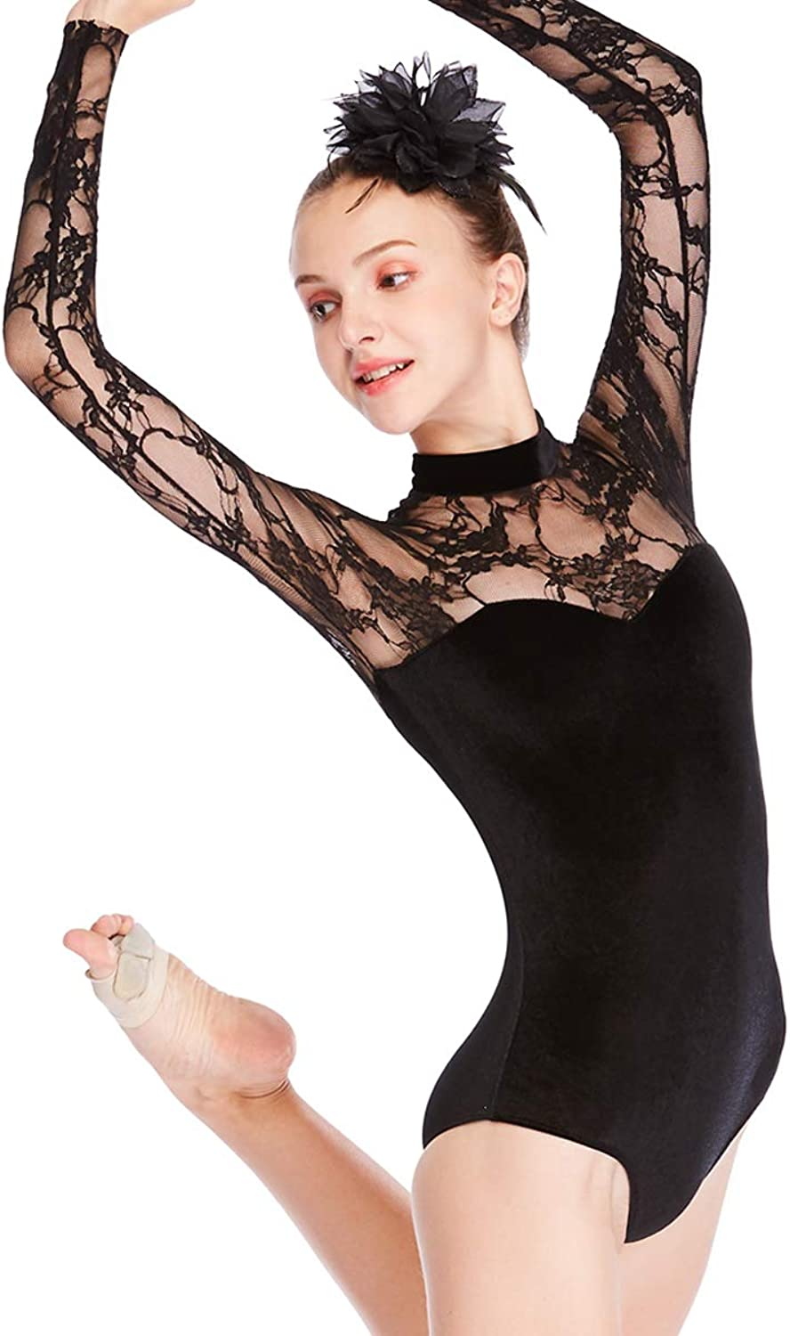 MiDee Dance Leotard Performance Lace Velvet Long Sleeves
