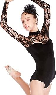MiDee Dance Leotard Performance Lace Velvet Long Sleeves