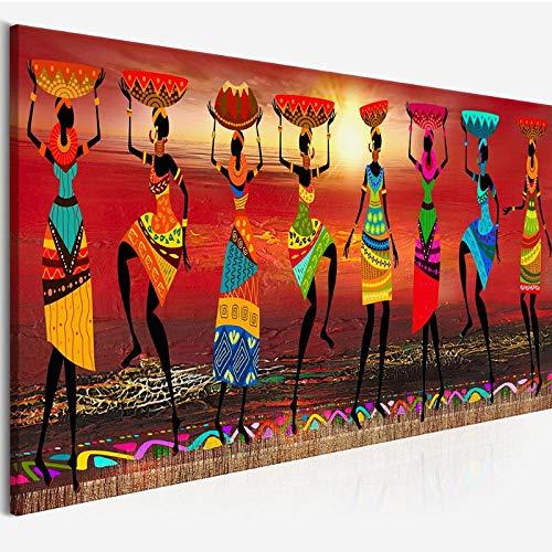 TeriliziPinturas Étnicas Pinturas Tribales De Arte Mujeres Africanas Bailando Cuadro para Sala De Estar Impresión De La Lona Decoración para El Hogar-50X150Cm Sin Marco